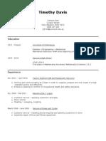 Resume 2012 Tim Davis