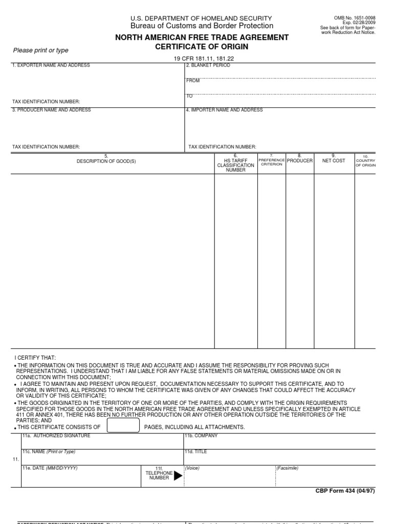 Certificate of origin us customs and border protection taxes xflitez Images