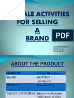 Pre-sale Activities for Selling a Brand