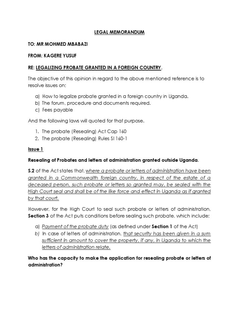 The Law Applicable on Probate Resealing in Uganda
