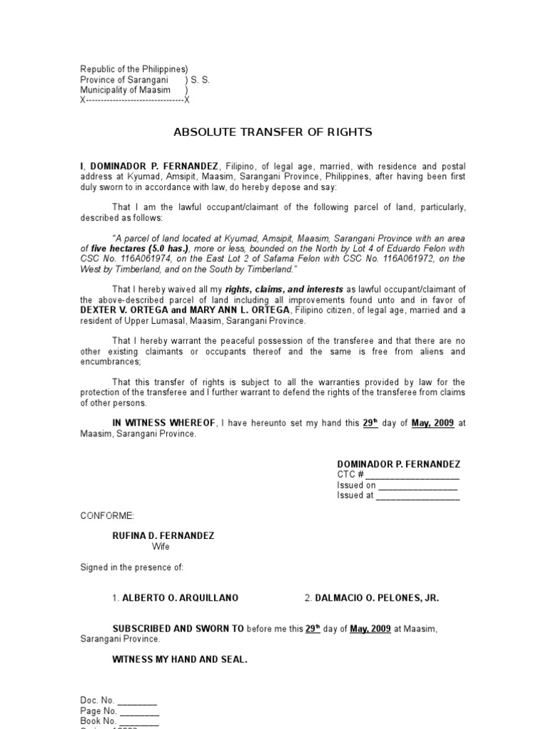 Absolute Transfer Of Rights Sample Common Law Public Law