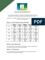 Supervised Study Timetable 2013-14