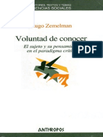 Zemelman Hugo Voluntad de Conocer
