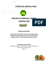 TERMINO DE REFERENCIA INSTALACIÓN DEL SERVICIO DE AGUA PARA ELSISTEMA DE RIEGO INTEGRADO TACCATA-UMASI–CHACRALLA