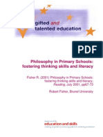 Philosophy in Primaries Fostering Thinking Skills and Literacy