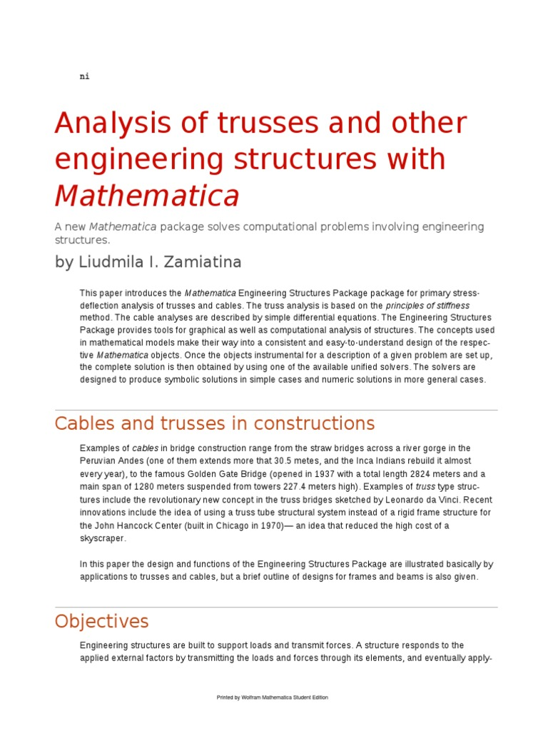 trusses with mathematica truss force rh scribd com Accident Review Manual Move Mechanics