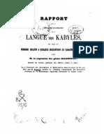 Tha Mazirth - Reinaud - Rapport Sur Un Essai de Grammaire de La Langue Des Kabyles 1857