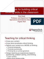 Strategies for Building Critical Thinking Skills in the Classroom Critical Thinking Pres Nebraska 2009