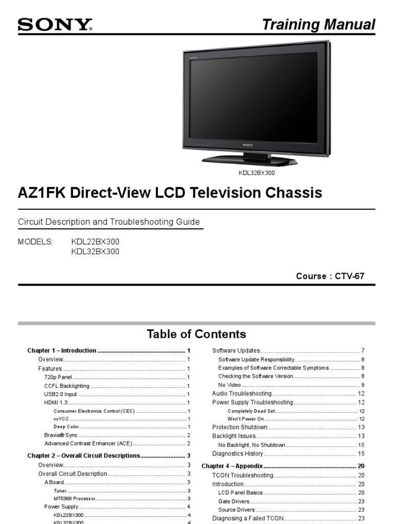 Sony Ctv-67 Az1fk Chassis Training Manual   KDL32BX300