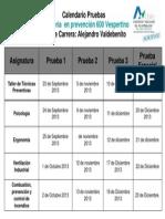 Calendario Pruebas 2013-2 Area Industrial