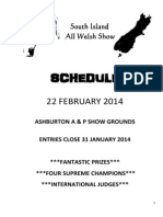 South Island Welsh Show Schedule 22 February 2014