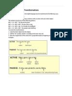 Sentence Pattern Transformations