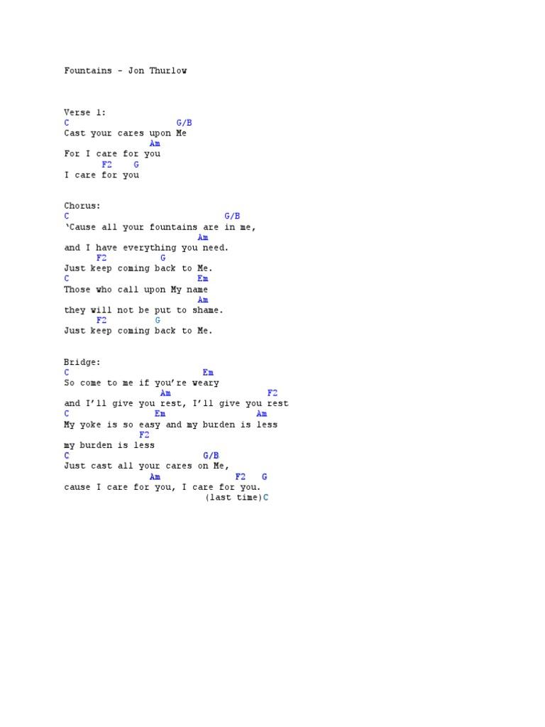 Fountains Chords  Jon Thurlow   Popular Music   Songs