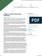 3 Ways to Achieve Successful Reliability