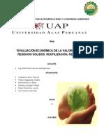 EVALUACIÓN ECONÓMICA DE LA VALORIZACIÓN DE RESIDUOS