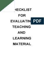 Checklist for TnL Materials