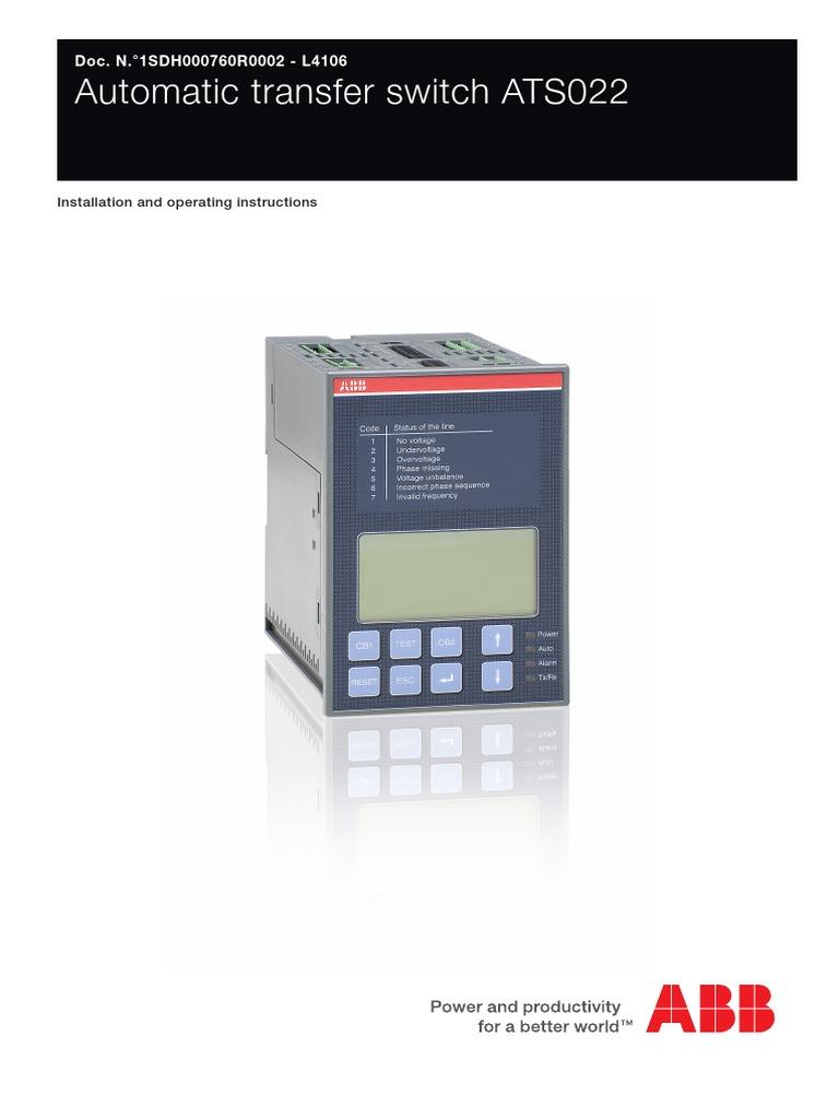 ABB ATS022 Auto Transfer Relay Instruction Manual ... on