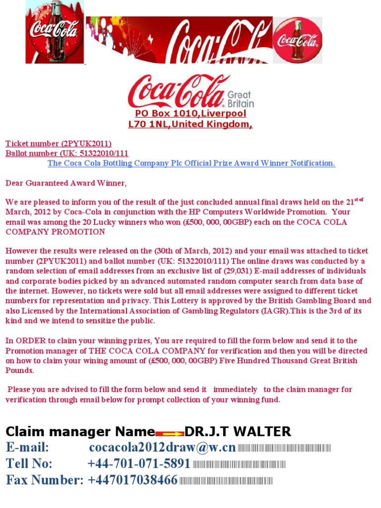 Coca Cola Winning Notification - Copy | Coca Cola | Lottery