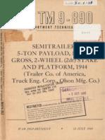 TM 9-890 5-TON SEMITRAILER STAKE AND PLATFORM, JULY 1944