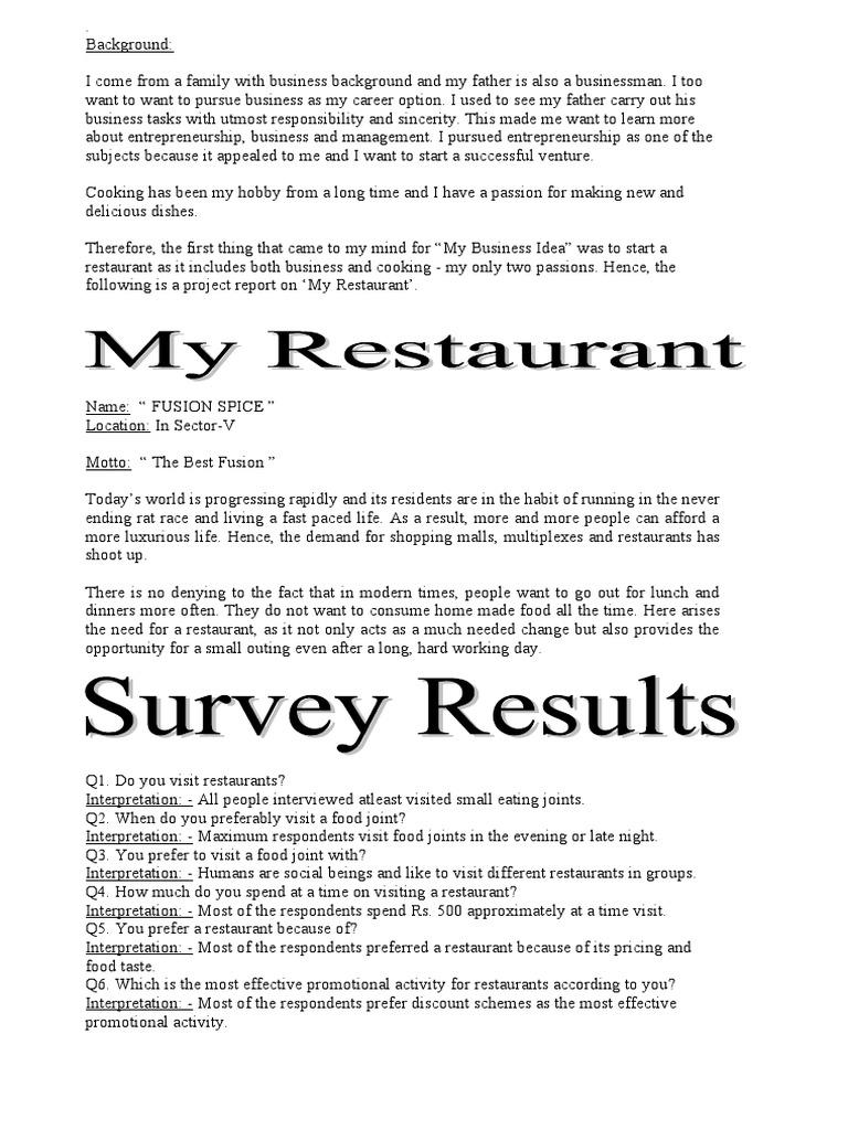 business plan sample | Customer Relationship Management | Restaurants