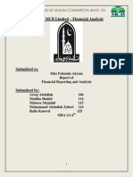 Financial Reporting and Anlaysis Report on MCB Limited