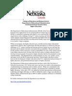 Assistant professor (tenure-line) in Higher Education, EDAD, University of Nebraska-Lincoln