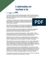 Thatcher Planeaba Un Ataque Nuclear a La Argentina