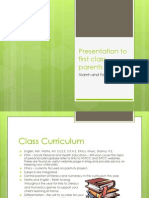 Presentation to First Class Parents