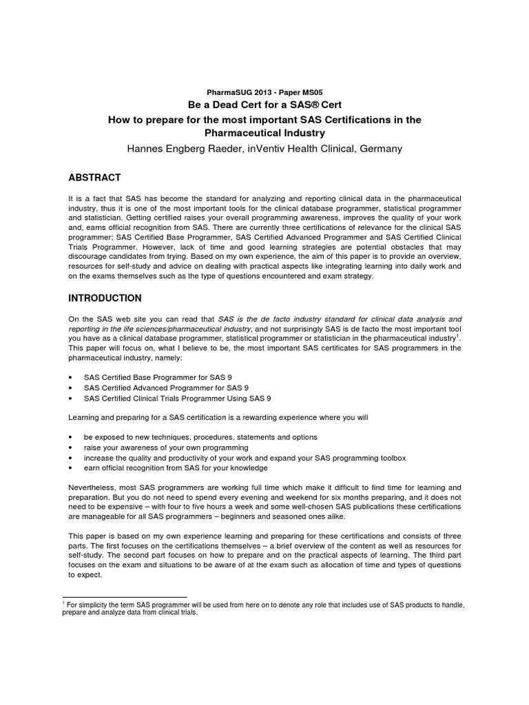 Pharmasug 2013 Ms05 Sas Software Clinical Trial