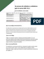 Calificaciones de proceso de soldadura y soldadores según la norma AWS D1