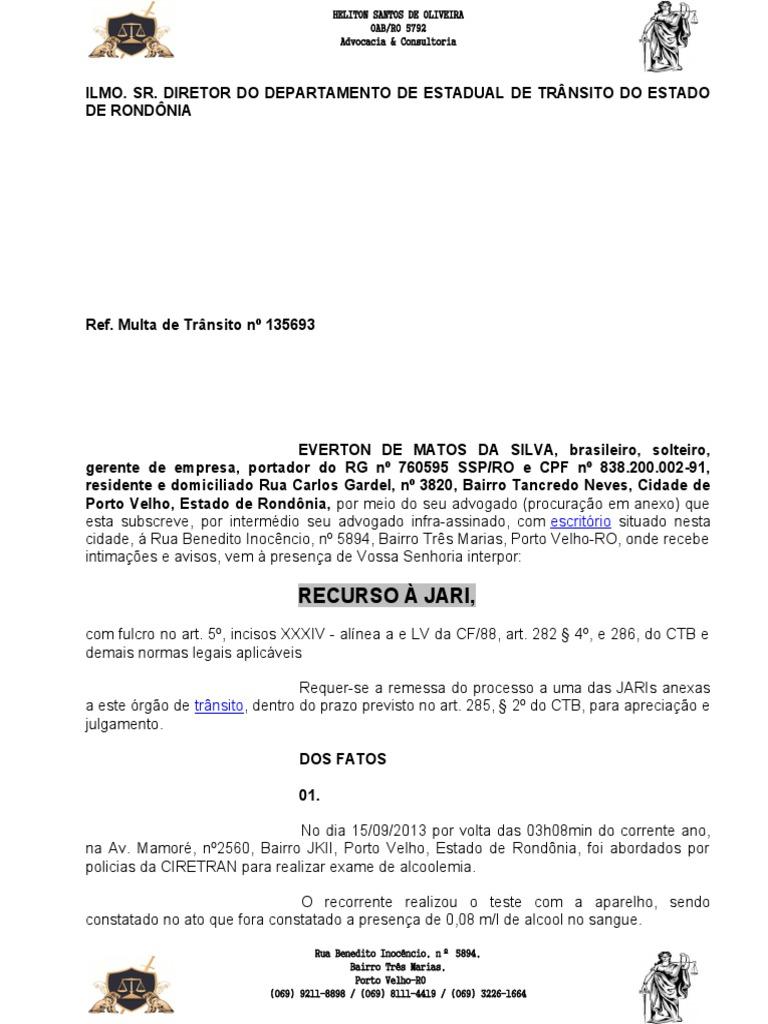Defesa Prévia Jari Embriaguez Quantidade Pequena
