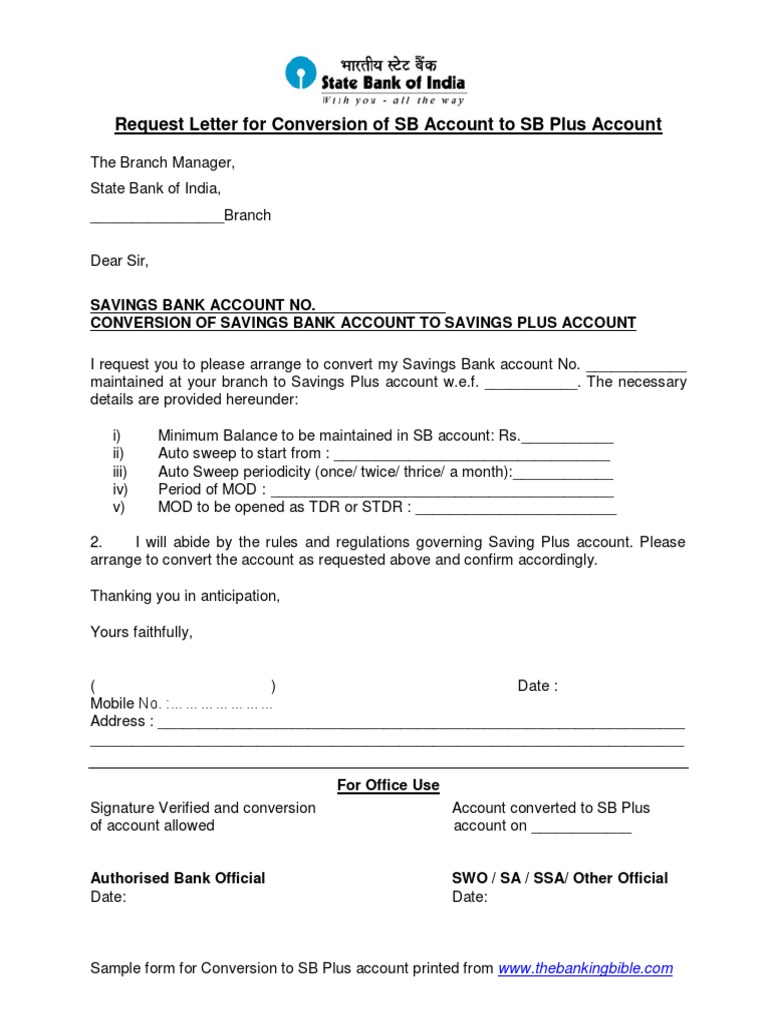Request letter for conversion of account to savings plus account spiritdancerdesigns Choice Image