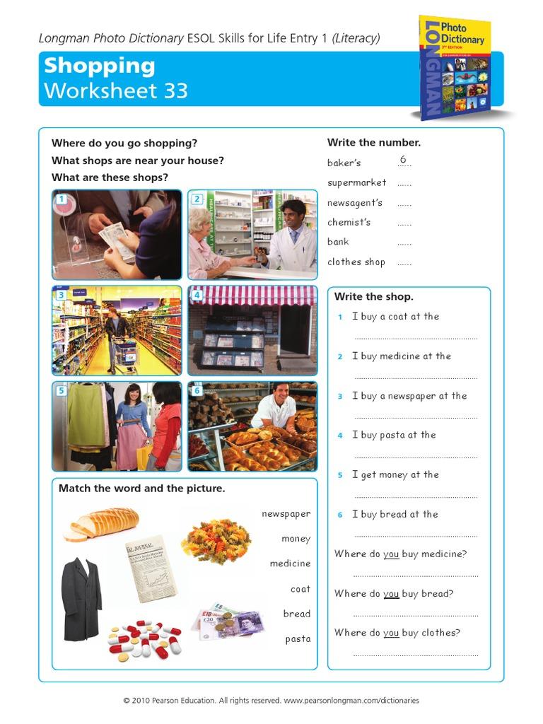 worksheet Esol Worksheets longman esol skills for life shopping
