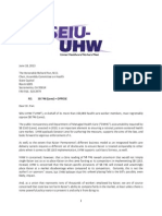 SEIU-UHW's  Letter Opposing California Senate Bill 746