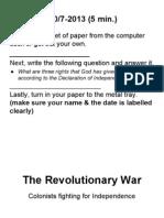 Revolutionary War. Mr.grissom