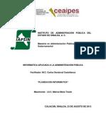 CONTROL DE LECTURA PLANEACIÓN INFORMATICA