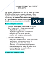 Guidelines for Writing a SUMMARY With In