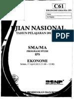 Naskah Soal UN Ekonomi SMA 2012 Paket C61