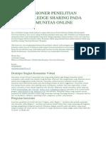 Kuesioner Penelitian Knowledge Sharing Pada Komunitas Online