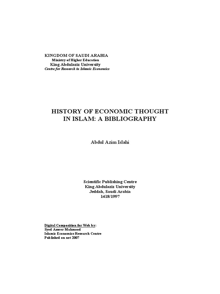 HISTORY OF ECONOMIC THOUGHT IN ISLAM pdf | Saudi Arabia