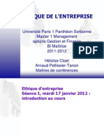 Ethique de l'Entreprise S1 - 17 Janvier 2012