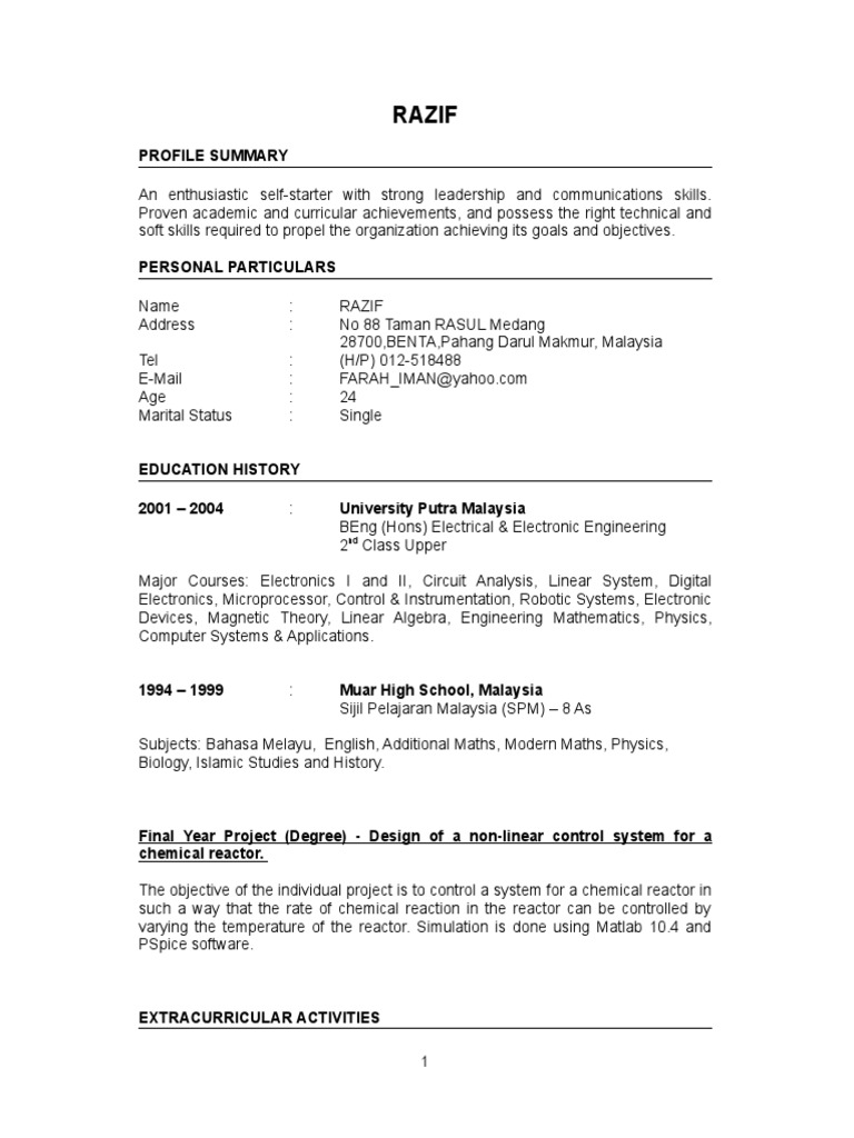 fresh graduate resume sample - Extra Curricular Activities In Resume Sample