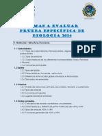 TEMAS A EVALUAR  PRUEBA ESPECÍFICA DE BIOLOGÍA 2014 (2)