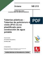 Nb 213 - Tuberias Plasticas Tubos de (Pvc-u) No Planificado Para Conduccion de Agua Potable