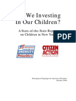 Are We Investing In Our Children? A State-of-the-State Report on Children in New York