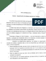 Nota informativa de Sánchez Manzano sobre la Mochila de Vallecas