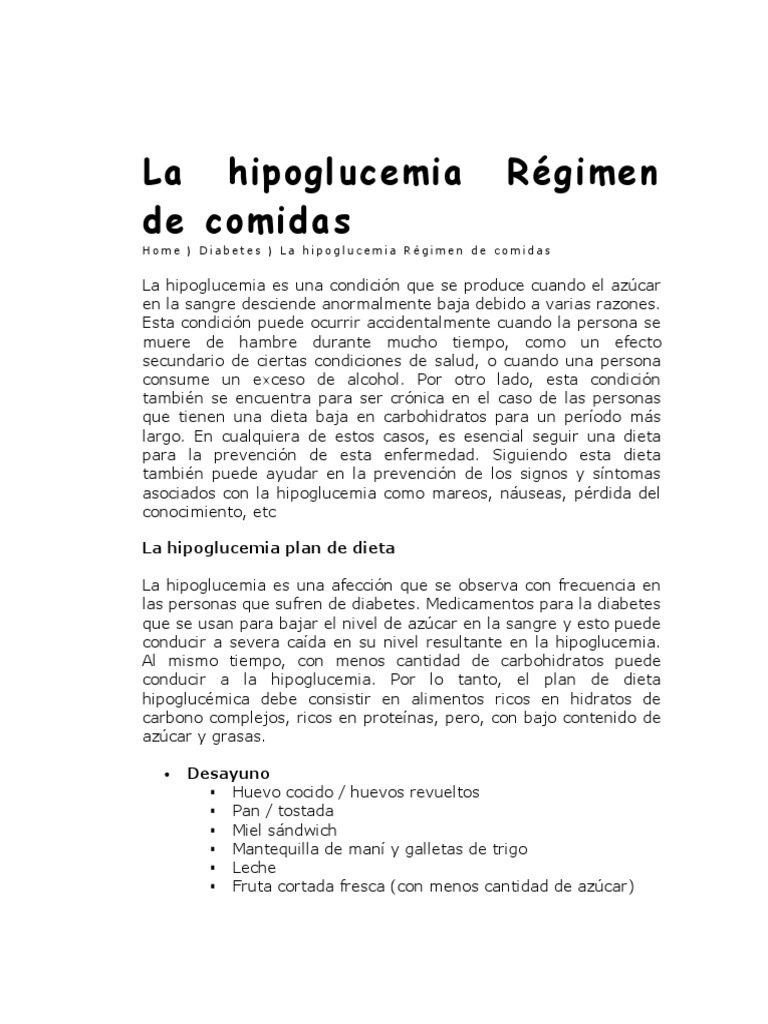 menu para hipoglucemia reactiva