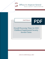 Overall Processing Times for 2010 Childhood Supplemental Security Income Claims (A-04-12-11230)