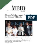 06-10-2013 Diario Matutino Cambio de Puebla - Moreno Valle Inaugura El Festival de Los Moles en California