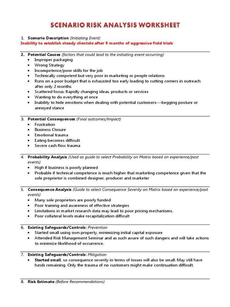 Worksheets Risk Analysis Worksheet scenario risk analysis worksheet e management risk